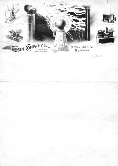 Nikola Tesla Company Letterhead, c.1900